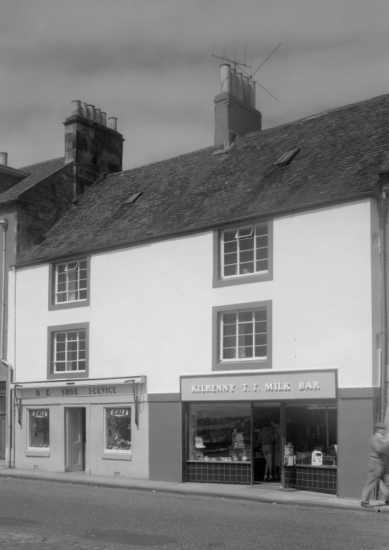 View of 10 and 11 Shore street, Anstruther Easter, from S, showing D E Shoe Service and Kilrenny T T Milk Bar.