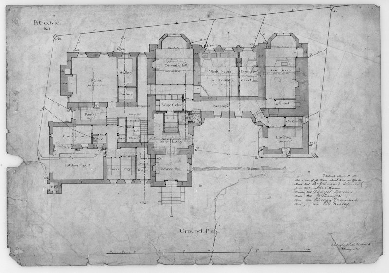 Photographic copy of ground floor plan.