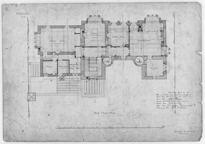 Photographic copy of alternative sketch plans and elevations. First floor plan of chosen design.