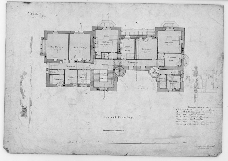 Photographic copy of alternative sketch plans and elevations. Second floor plan of chosen design.