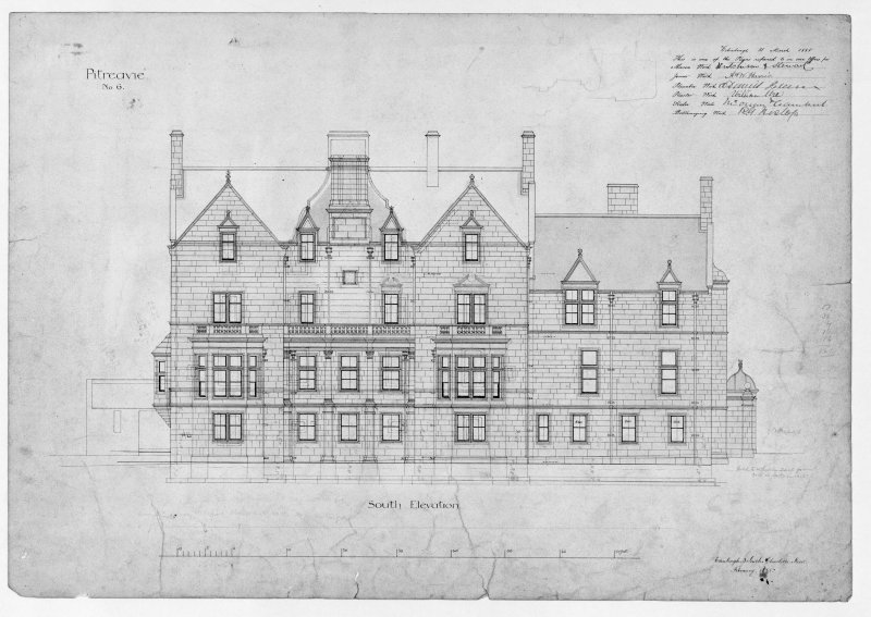 Photographic copy of south elevation.