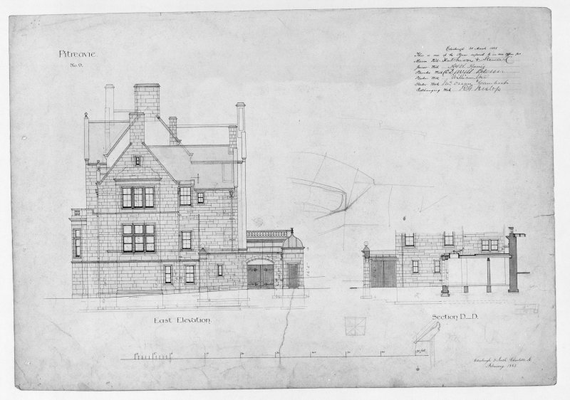 Photographic copy of section and east elevation including details of entrance porch.