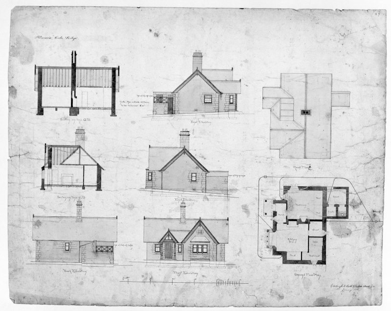 Photographic copy of plans, sections and elevations of gate lodge.