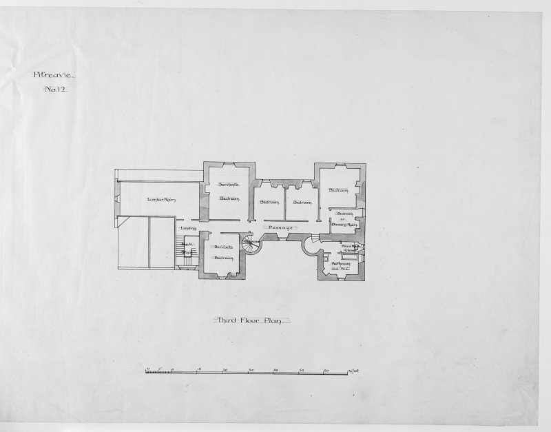 Alternative preliminary sketch designs. Photographic copy of Third floor plan.