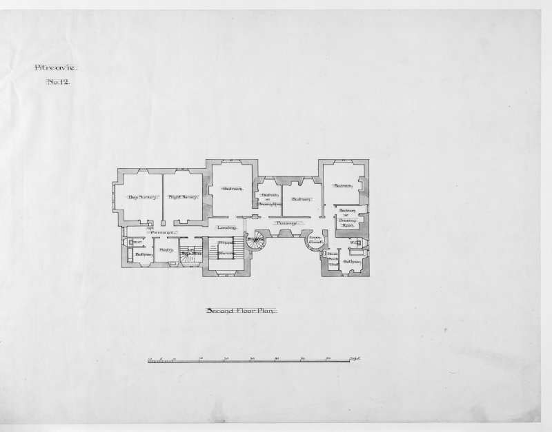 Alternative preliminary sketch designs. Photographic copy of Second floor plan.