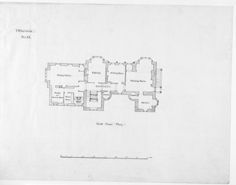 Alternative preliminary sketch designs. Photographic copy of First floor plan.