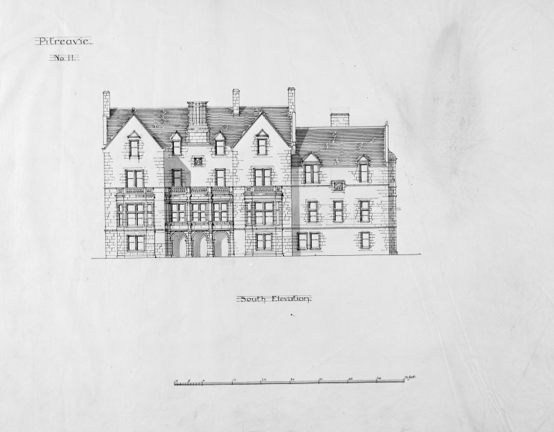 Alternative preliminary sketch designs. Photographic copy of South elevation.