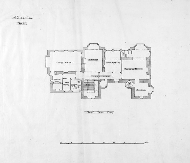 Alternative preliminary sketch designs.Photographic copy of  First floor plan.