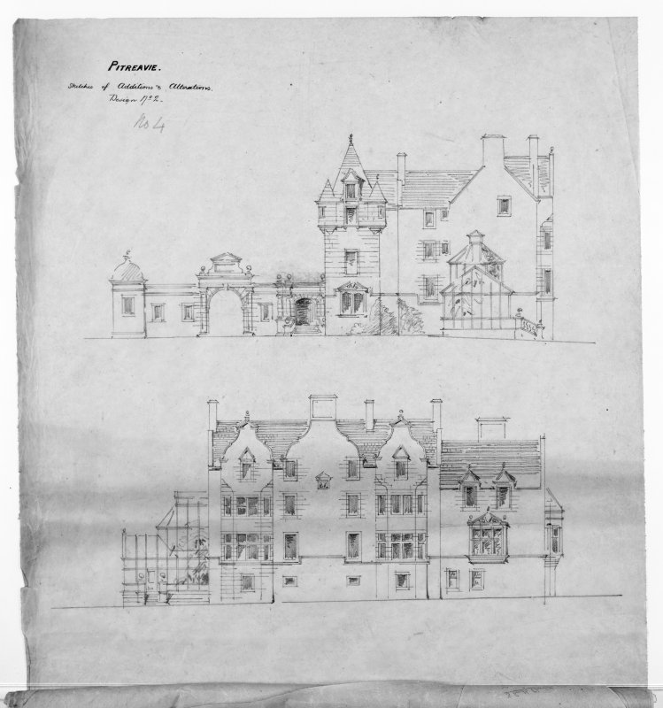 Alternative preliminary sketch designs. Photographic copy of elevations.