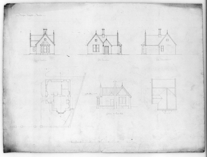 Photographic copy of plans and elevations of gate lodge.