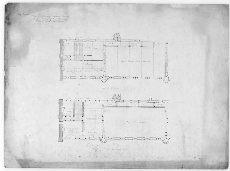 Photographic copy of plan of alterations to eastern part of front building.