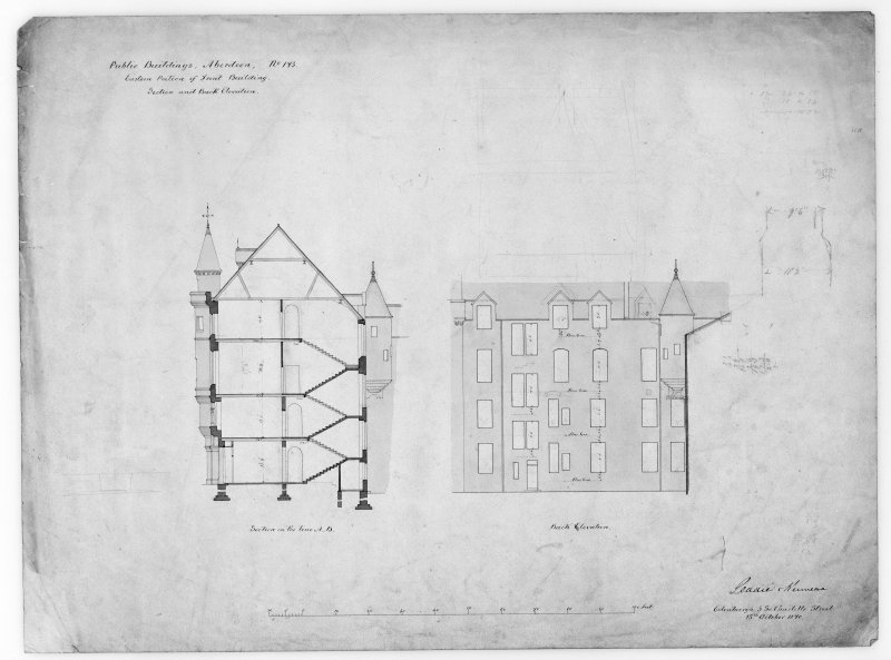 Photographic copy of section and elevation of alterations to eastern part of front building.