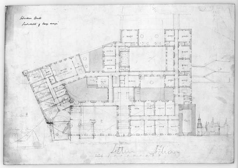 Photographic copy of plan for adapting existing court house. Alternative plans for new municipal buildings, incorporating existing tolbooth.