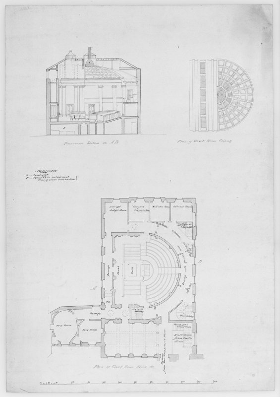 Photographic copy of sketch plans, plans and sections of preliminary designs for proposed new court house and for adapting existing court house.