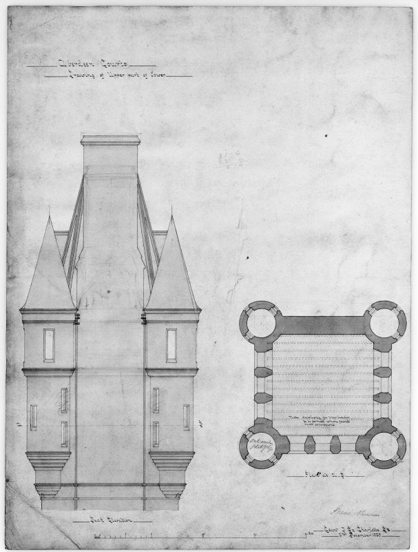 Photographic copy of elevation and plan of upper part of tower.