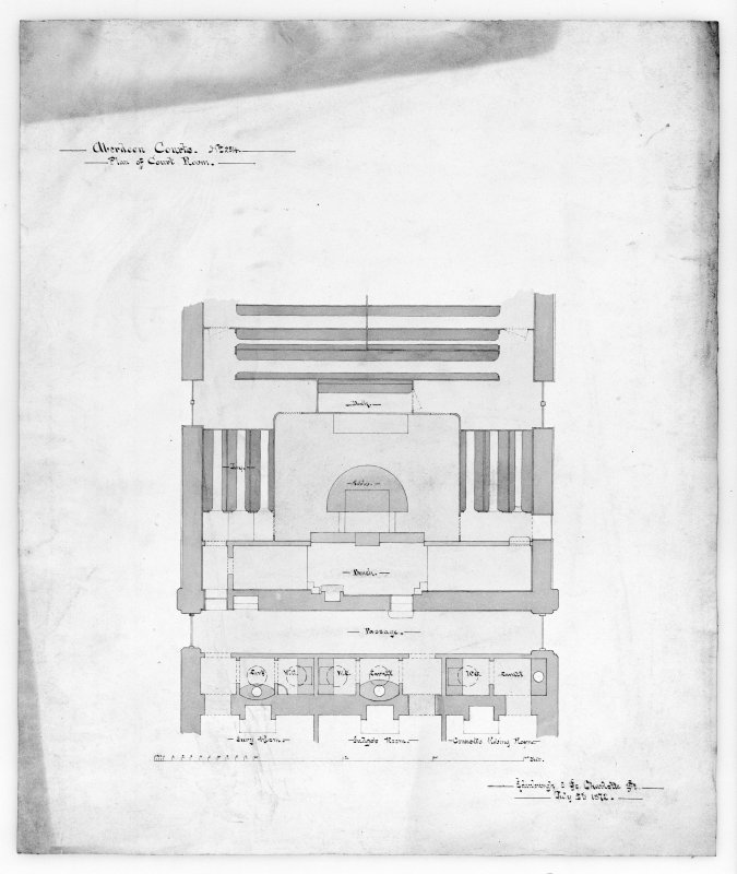 Photographic copy of plan of court room.