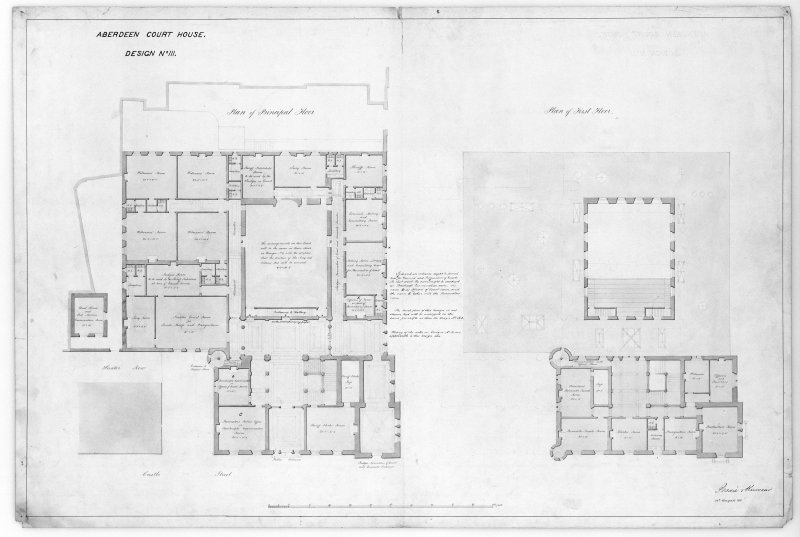 Photographic copy of plans of preliminary designs for proposed new court house and for adapting existing court house.