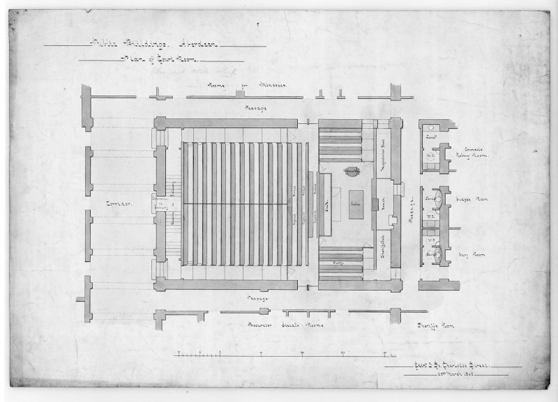 Photographic copy of plan of court room and corridor.