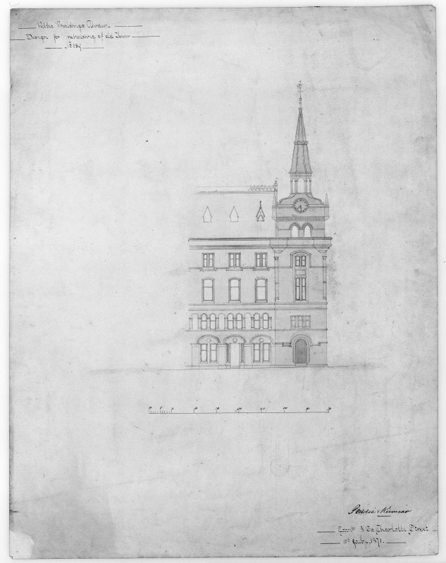 Photographic copy of elevation of re-building of old tower.
