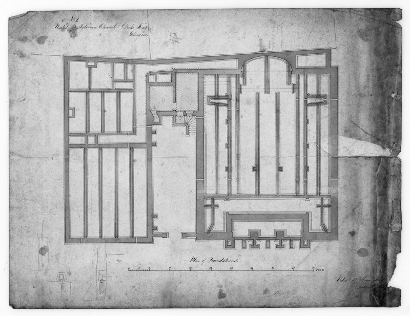 Glasgow, 176 Duke Street, United Presbyterian Church. Photographic copy of a plan of foundations. Insc:'United Presbyterian Church, Duke Street, Glasgow, Plan of Foundations'.