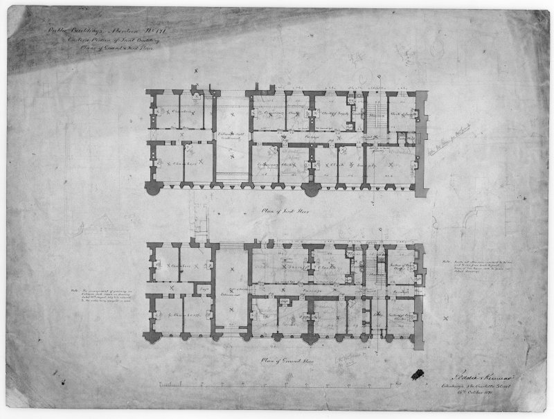 Photographic copy of plans of alterations to eastern part of front building.