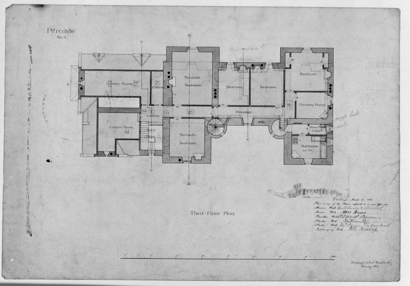 Photographic copy of third floor plan.