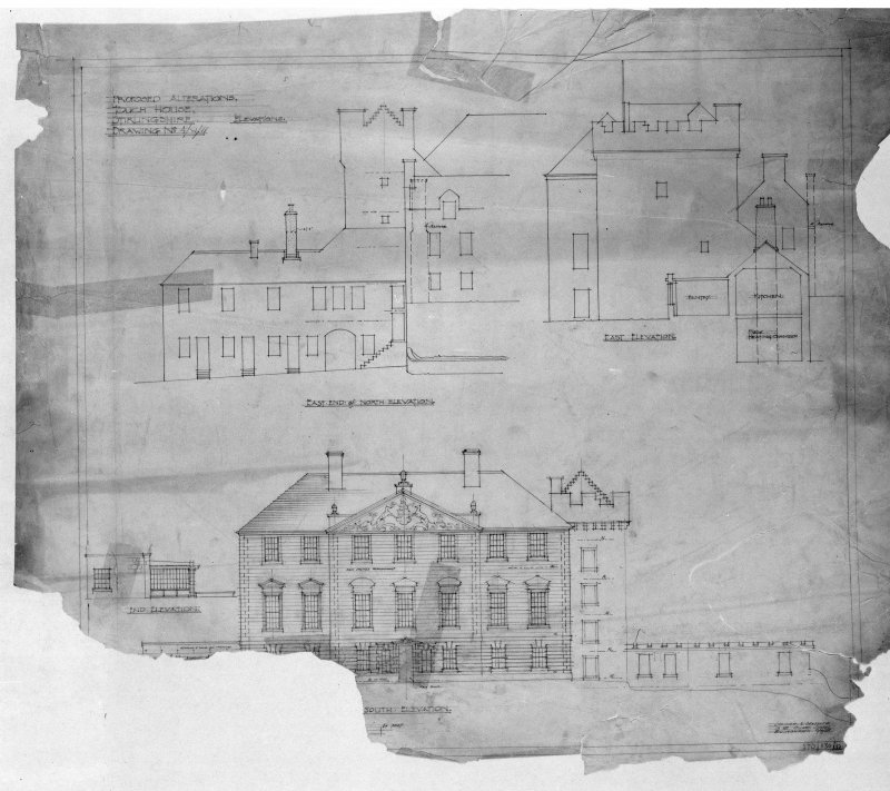 Photographic copy of drawing of elevations. Insc: 'Proposed Alterations, Touch House, Stirlingshire, Elevations', 'East End of North Elevation', 'East Elevation', 'South Elevation', 'Lorimer and Matthew, 17 Great Stuart Street, Edinburgh, 6/3/28'.