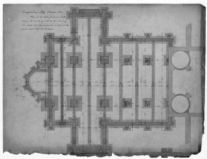 Photographic copy of plan of foundation walls.