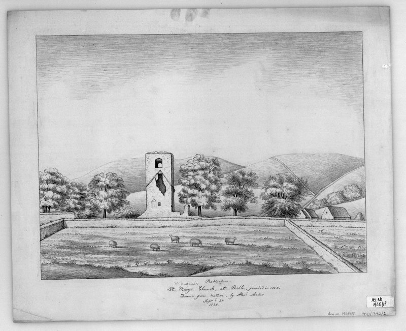 Photographic copy of pencil sketch showing general view. Titled: 'St Marys (St Andrews) Church at Peebles, founded in1100' 'Drawn from Nature by Alexr. Archer Septr. 28 1838'