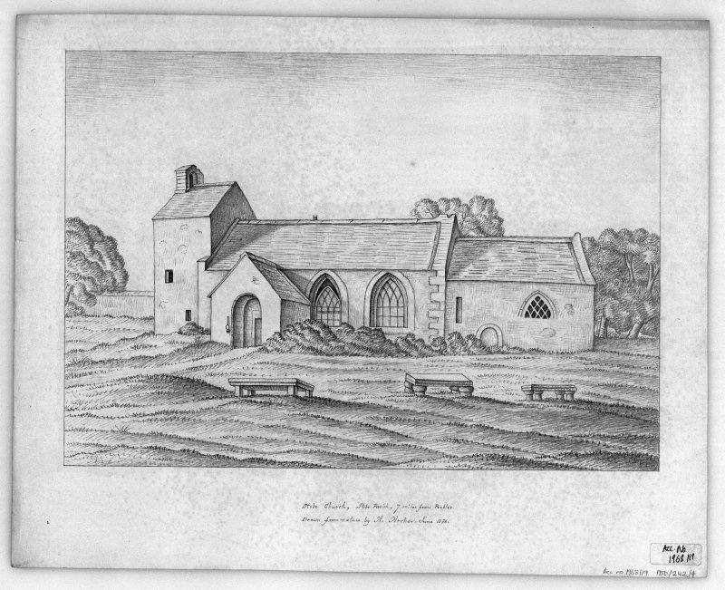 Photographic copy of drawing showing view from SE. Titled: 'Stobo Church, Stobo Parish, 7 miles from Peebles.'  'Drawn from nature by A. Archer.  June 1836.'