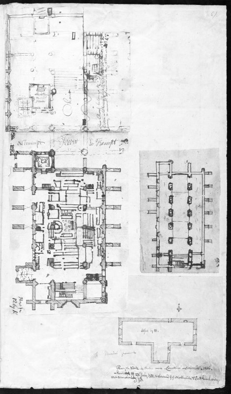 Photographic copy of two ink sketch plans of Dunfermline Abbey Church and one ink sketch plan of Rosyth Church Copied from page 61 of 'MEMORABILIA, JOn. SIME  EDINr.  1840'