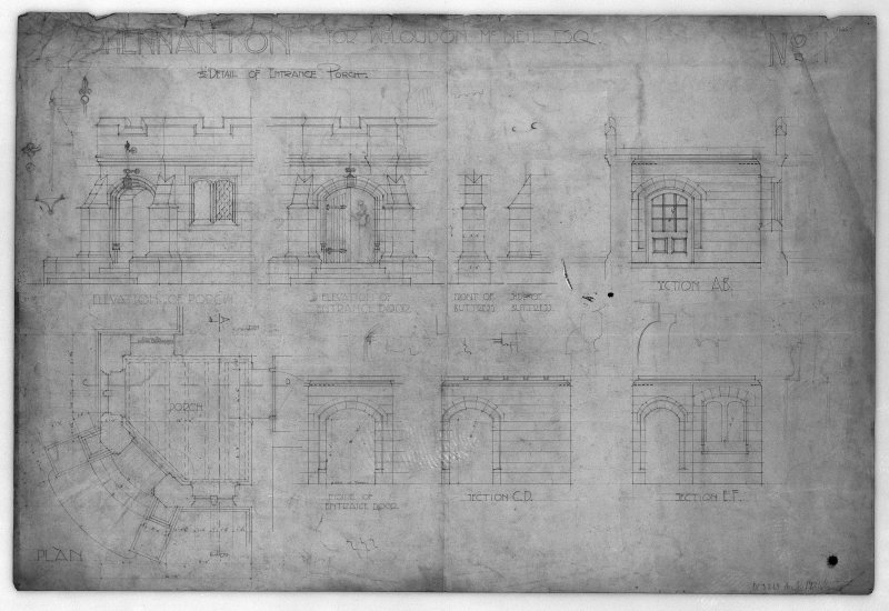 Photographic copy of plan, section, elevation and details of entrance porch.