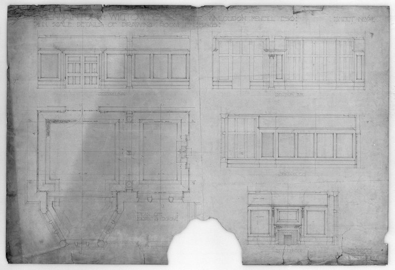 Photographic copy of plan, sections and details of drawing room.