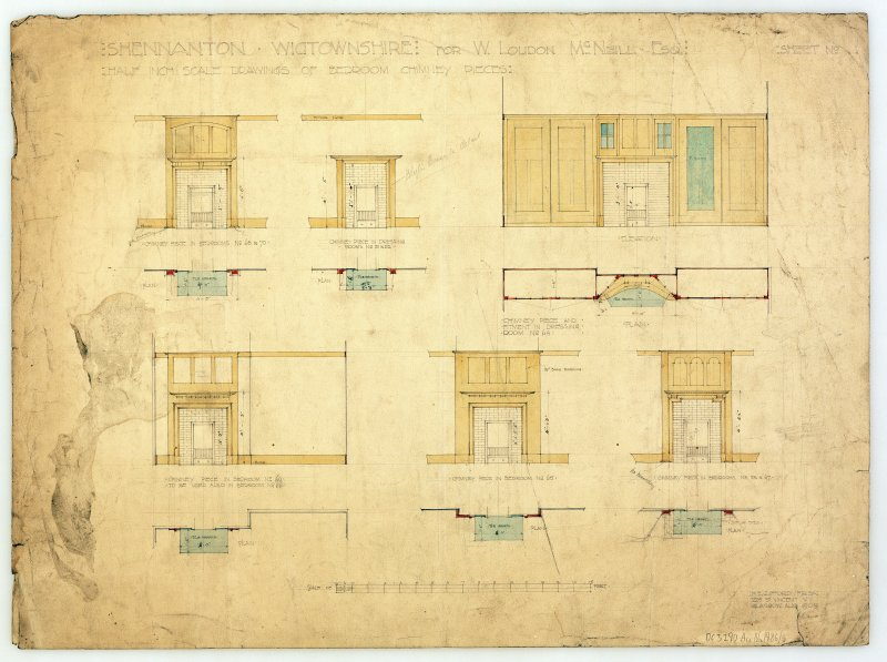 Photographic copy of plans and elevations of bedroom chimneypieces.