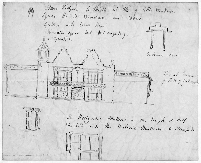 Edinburgh, Cramond Road South, Lauriston Castle. Photographic copy of sketch of Burn's North front with proposed alterations. Pen and ink.