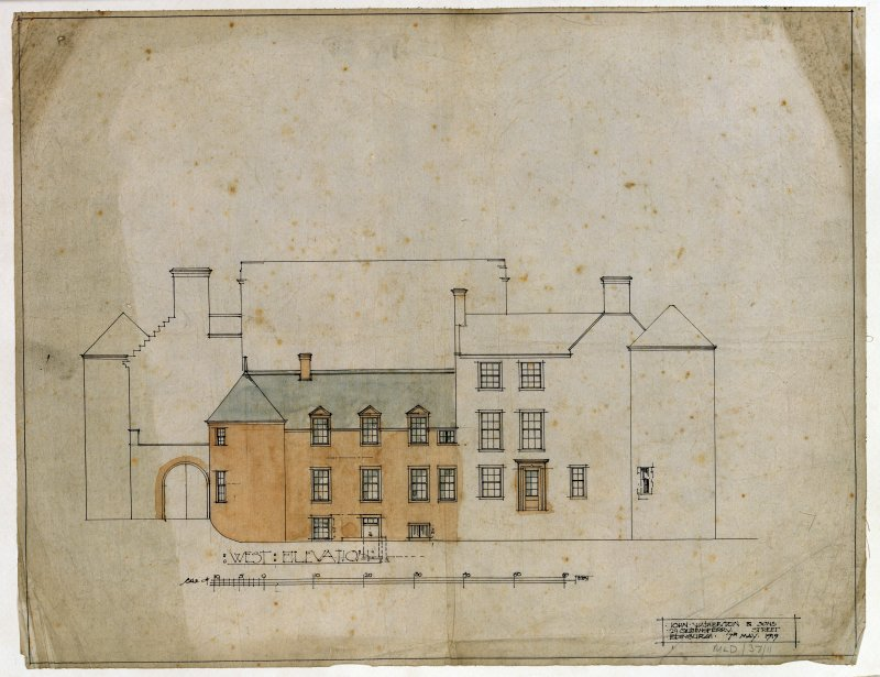 Hatton House Photographic copy of West elevation Entitled: 'West Elevation' Dated: '7th May, 1919' Black ink and colourwash, with scale