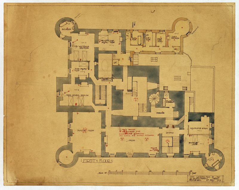 Hatton House Photographic copy of plan of first floor Entitled: 'First Floor' Dated: '2nd May 1919' Balck ink and colourwash, with scale