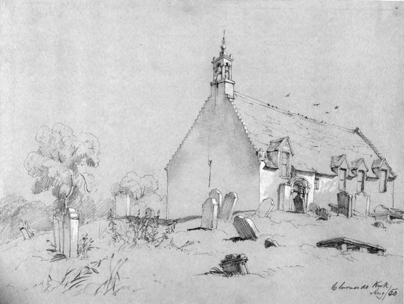 Photographic copy of drawing of Chirnside Church.