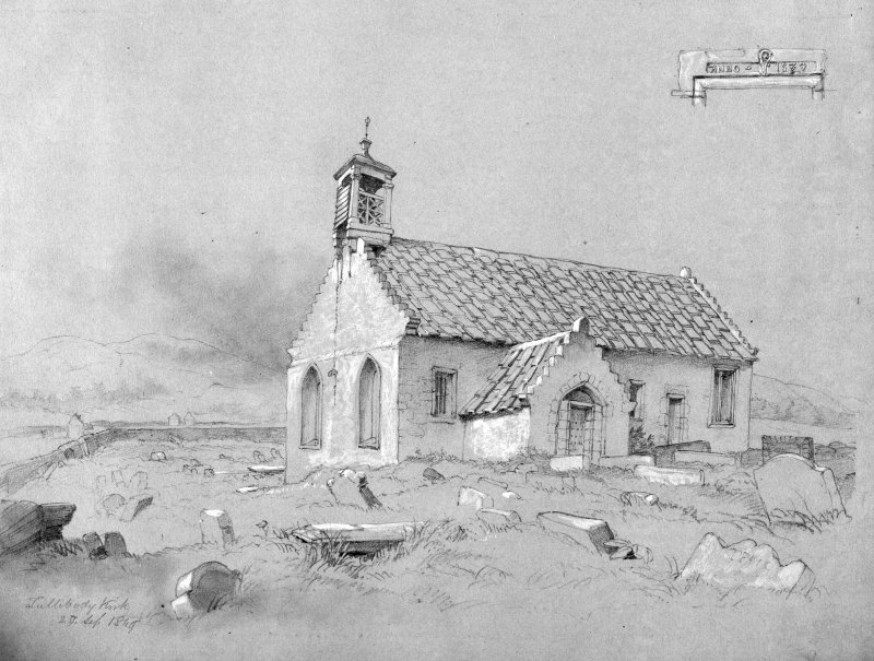 Photographic copy of drawing of Tullibody Church.