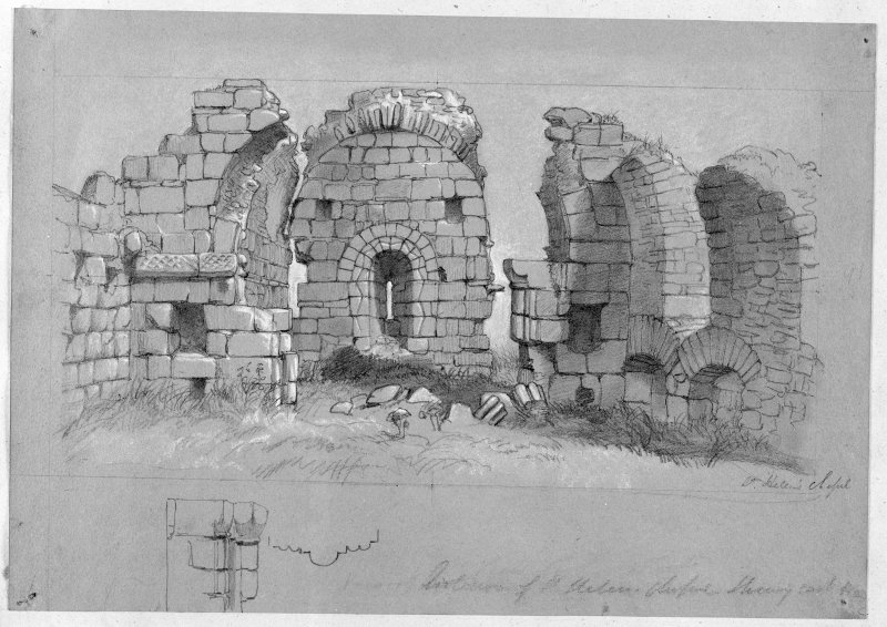 Photographic copy of a view of ruins of St Helen's Chapel.