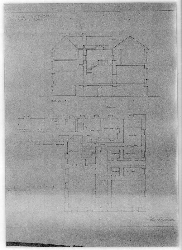 Photographic copy of section A-A and basement plan of Physgill House, Whithorn. Proposed alterations for R H Johnston-Stewart Esq.