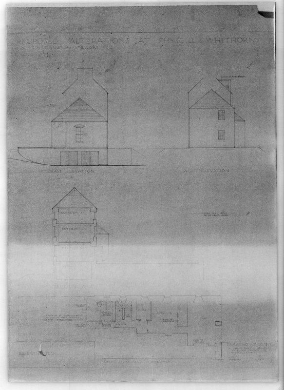 Photographic copy of east and west elevation, section, and basement plan of Physgill House, Whithorn. Proposed alterations for R H Johnston-Stewart Esq.