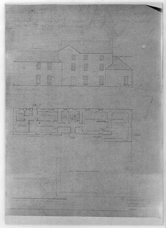 Photographic copy of south elevation and ground floor plan. Proposed alterations for R H Johnston-Stewart Esq.