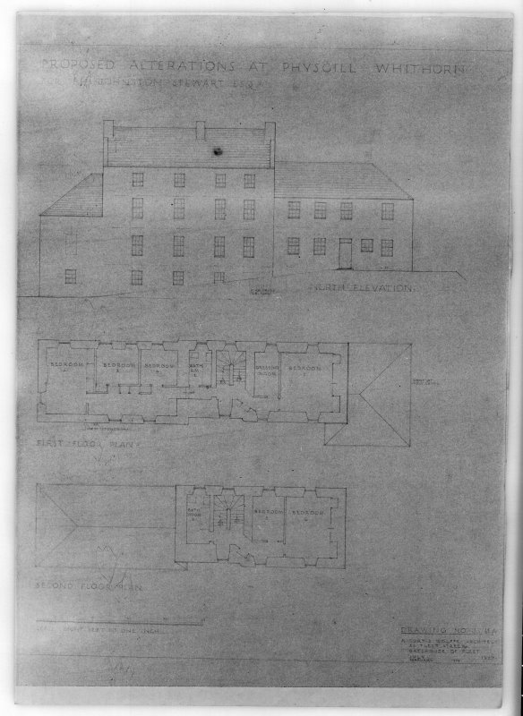 Photographic copy of north elevation, first and second floor plans. Proposed alterations for R H Johnston-Stewart Esq.