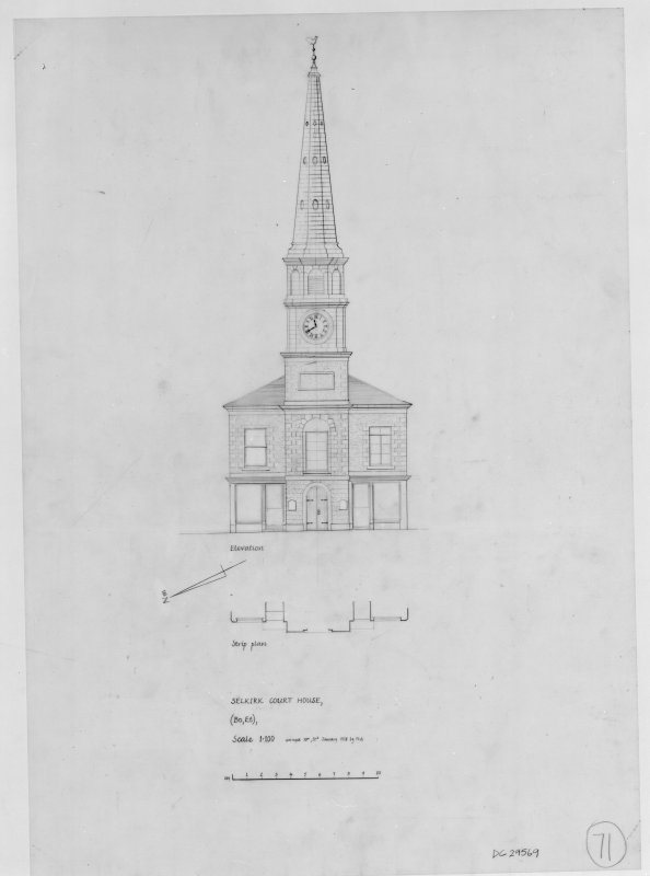 Photographic copy of drawing showing elevation and strip plan. Preparatory drawing for 'Tolbooths and Town-Houses', RCAHMS, 1996. Original drawing signed: 'HLS'