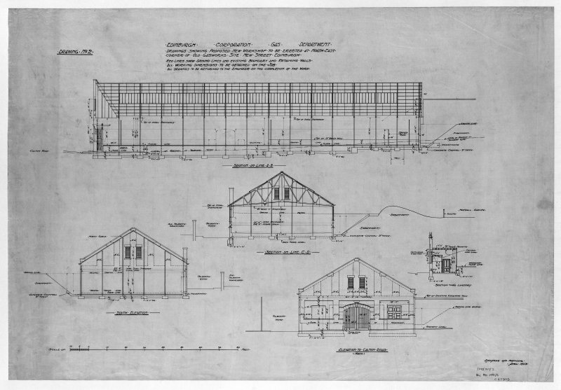 Edinburgh, New Street Gasworks, photographic copy of structural elevation sections and detail of proposed workshop Alex Masterson, Engineer E and LC Gas Commissioners, 'dep. by Scottish Gas 1980'
