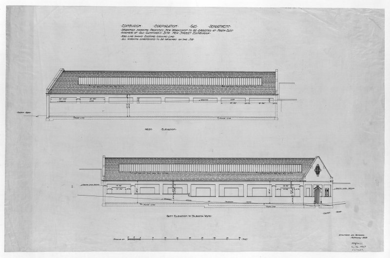 Edinburgh, New Street Gasworks, photographic copy of elevation of proposed workshop Alex Masterson, Engineer E and LC Gas Commissioners, 'dep. by Scottish Gas 1980'