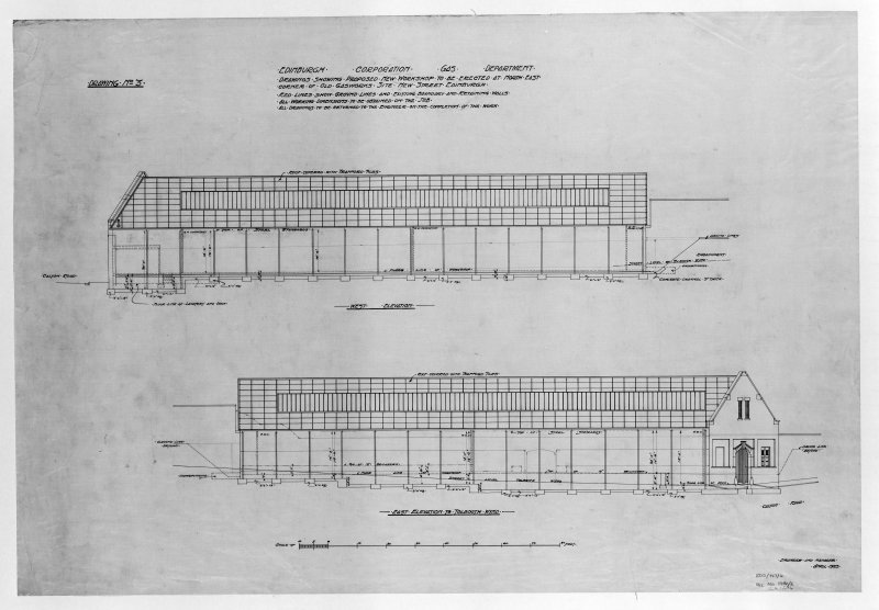 Edinburgh, New Street Gasworks, photographic copy of elevations of proposed workshop Alex Masterson, Engineer E and LC Gas Commissioners, 'dep. by Scottish Gas 1980'