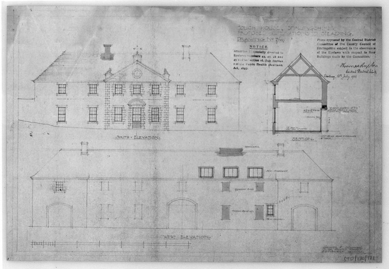 Photographic copy of drawing of proposed alterations to elevations of steading. Insc: 'Touch House, Stirlingshire, Proposed Alterations to Steading', 'South Elevation', West Elevation', 'Section', 'Lorimer and Matthew, 17 Gt Stuart Street, Edinburgh, 19/4/28'.