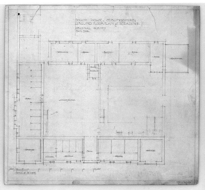 Photographic copy of drawing of ground floor plan of steading. Insc: 'Touch House, Stirlingshire, Ground Floor Plan of Steading, Original Survey, Jan. 1928'.